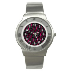 Weave And Knit Pattern Seamless Background Stainless Steel Watch