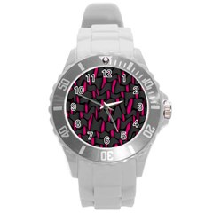 Weave And Knit Pattern Seamless Background Round Plastic Sport Watch (l)