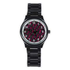 Weave And Knit Pattern Seamless Background Stainless Steel Round Watch