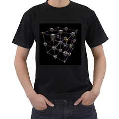 Grid Construction Structure Metal Men s T-Shirt (Black) (Two Sided)