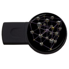 Grid Construction Structure Metal USB Flash Drive Round (4 GB)