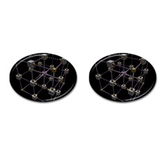 Grid Construction Structure Metal Cufflinks (Oval)
