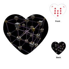Grid Construction Structure Metal Playing Cards (Heart)