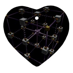 Grid Construction Structure Metal Heart Ornament (Two Sides)