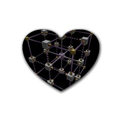Grid Construction Structure Metal Rubber Coaster (Heart)