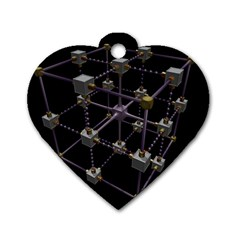 Grid Construction Structure Metal Dog Tag Heart (Two Sides)