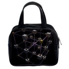 Grid Construction Structure Metal Classic Handbags (2 Sides)