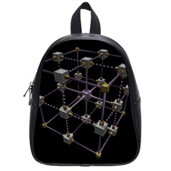 Grid Construction Structure Metal School Bags (Small)