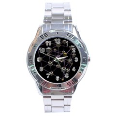 Grid Construction Structure Metal Stainless Steel Analogue Watch