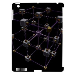 Grid Construction Structure Metal Apple iPad 3/4 Hardshell Case (Compatible with Smart Cover)