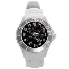 Grid Construction Structure Metal Round Plastic Sport Watch (L)