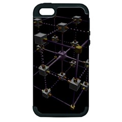 Grid Construction Structure Metal Apple iPhone 5 Hardshell Case (PC+Silicone)