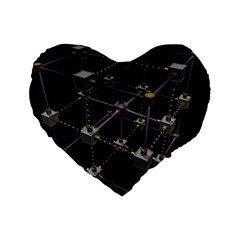 Grid Construction Structure Metal Standard 16  Premium Heart Shape Cushions