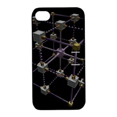 Grid Construction Structure Metal Apple iPhone 4/4S Hardshell Case with Stand