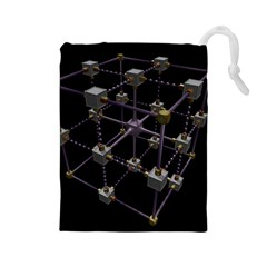 Grid Construction Structure Metal Drawstring Pouches (Large)