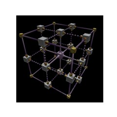 Grid Construction Structure Metal Small Satin Scarf (square)