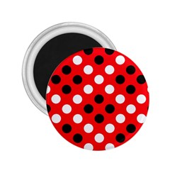 Red & Black Polka Dot Pattern 2.25  Magnets