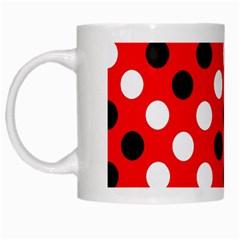 Red & Black Polka Dot Pattern White Mugs