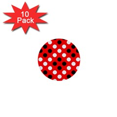 Red & Black Polka Dot Pattern 1  Mini Buttons (10 pack)