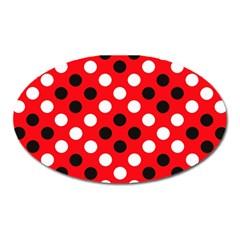 Red & Black Polka Dot Pattern Oval Magnet