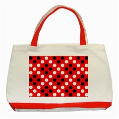 Red & Black Polka Dot Pattern Classic Tote Bag (Red)