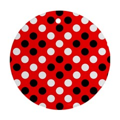 Red & Black Polka Dot Pattern Round Ornament (Two Sides)