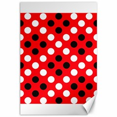 Red & Black Polka Dot Pattern Canvas 12  X 18