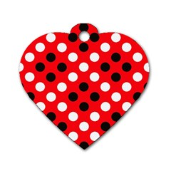 Red & Black Polka Dot Pattern Dog Tag Heart (Two Sides)