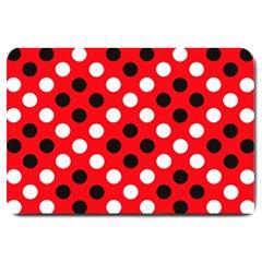 Red & Black Polka Dot Pattern Large Doormat
