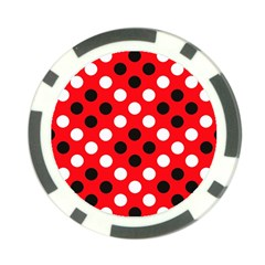 Red & Black Polka Dot Pattern Poker Chip Card Guard