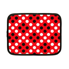 Red & Black Polka Dot Pattern Netbook Case (Small)