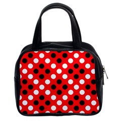 Red & Black Polka Dot Pattern Classic Handbags (2 Sides)