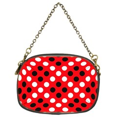 Red & Black Polka Dot Pattern Chain Purses (Two Sides)
