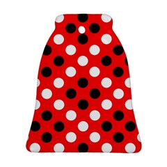 Red & Black Polka Dot Pattern Bell Ornament (Two Sides)