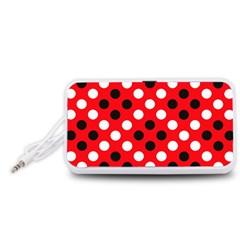 Red & Black Polka Dot Pattern Portable Speaker (White)