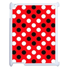 Red & Black Polka Dot Pattern Apple iPad 2 Case (White)