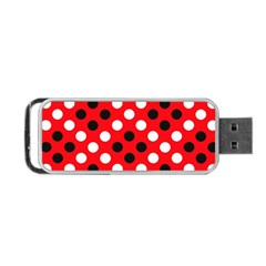 Red & Black Polka Dot Pattern Portable USB Flash (One Side)
