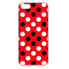 Red & Black Polka Dot Pattern Apple Seamless iPhone 5 Case (Clear)