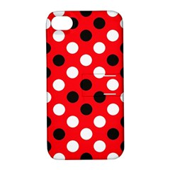 Red & Black Polka Dot Pattern Apple iPhone 4/4S Hardshell Case with Stand