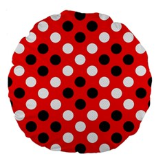 Red & Black Polka Dot Pattern Large 18  Premium Flano Round Cushions