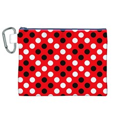 Red & Black Polka Dot Pattern Canvas Cosmetic Bag (XL)