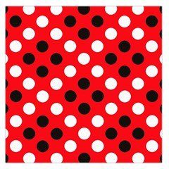Red & Black Polka Dot Pattern Large Satin Scarf (Square)
