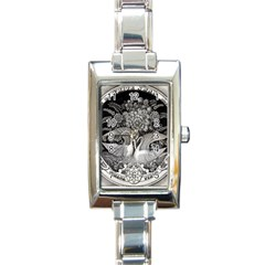 Swans Floral Pattern Vintage Rectangle Italian Charm Watch