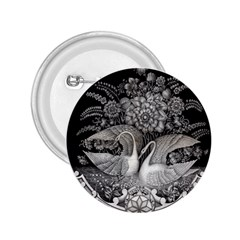 Swans Floral Pattern Vintage 2.25  Buttons