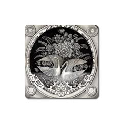 Swans Floral Pattern Vintage Square Magnet
