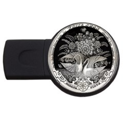Swans Floral Pattern Vintage USB Flash Drive Round (4 GB)