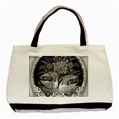 Swans Floral Pattern Vintage Basic Tote Bag