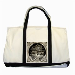 Swans Floral Pattern Vintage Two Tone Tote Bag