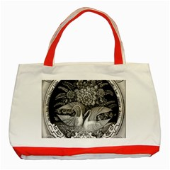 Swans Floral Pattern Vintage Classic Tote Bag (Red)