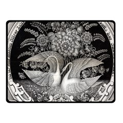 Swans Floral Pattern Vintage Fleece Blanket (Small)